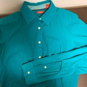 Izod Teal Blue Button Down, Women's
